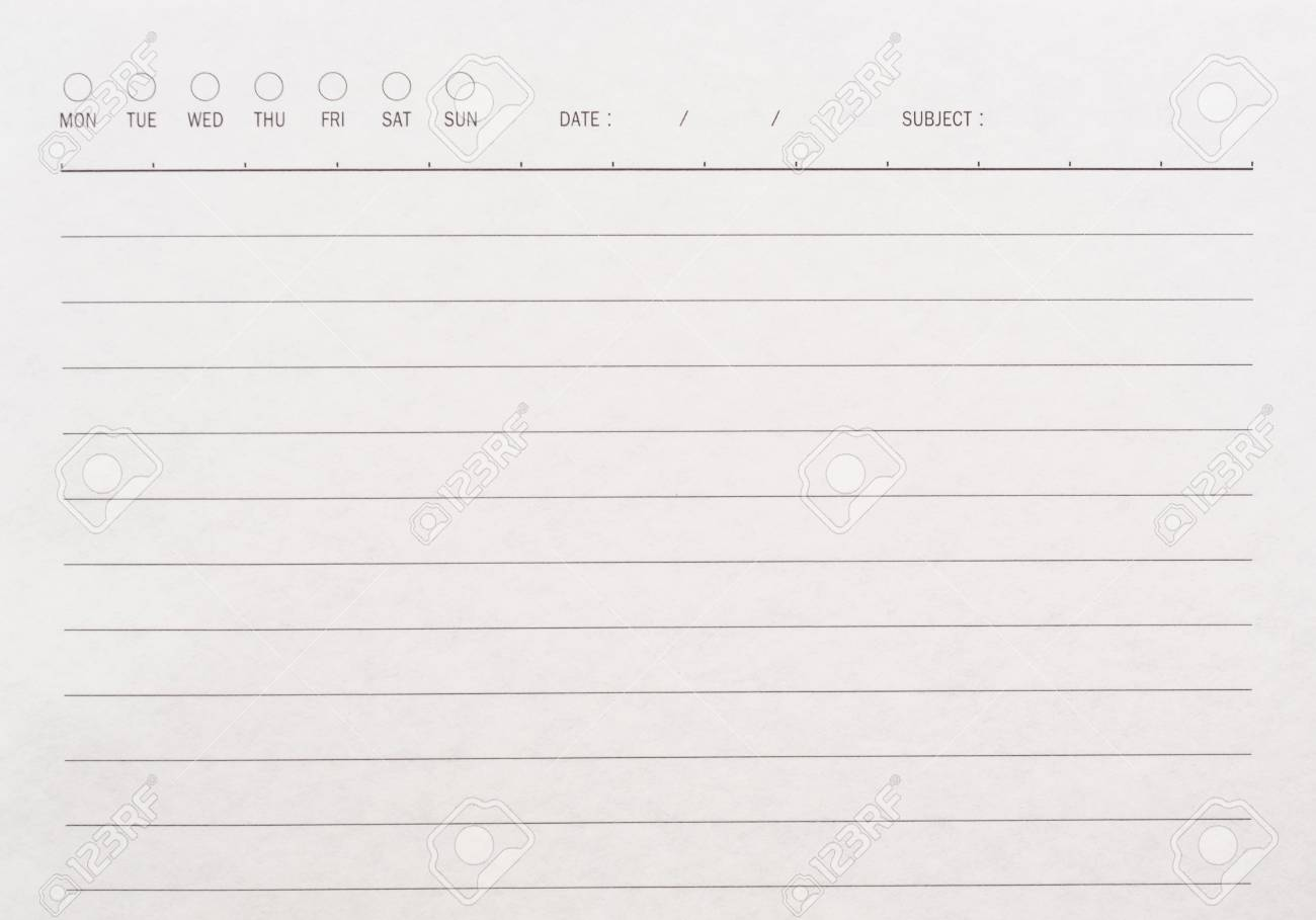 A Blank Lined Page With Days, Date And Subject On Header Stock Photo ...
