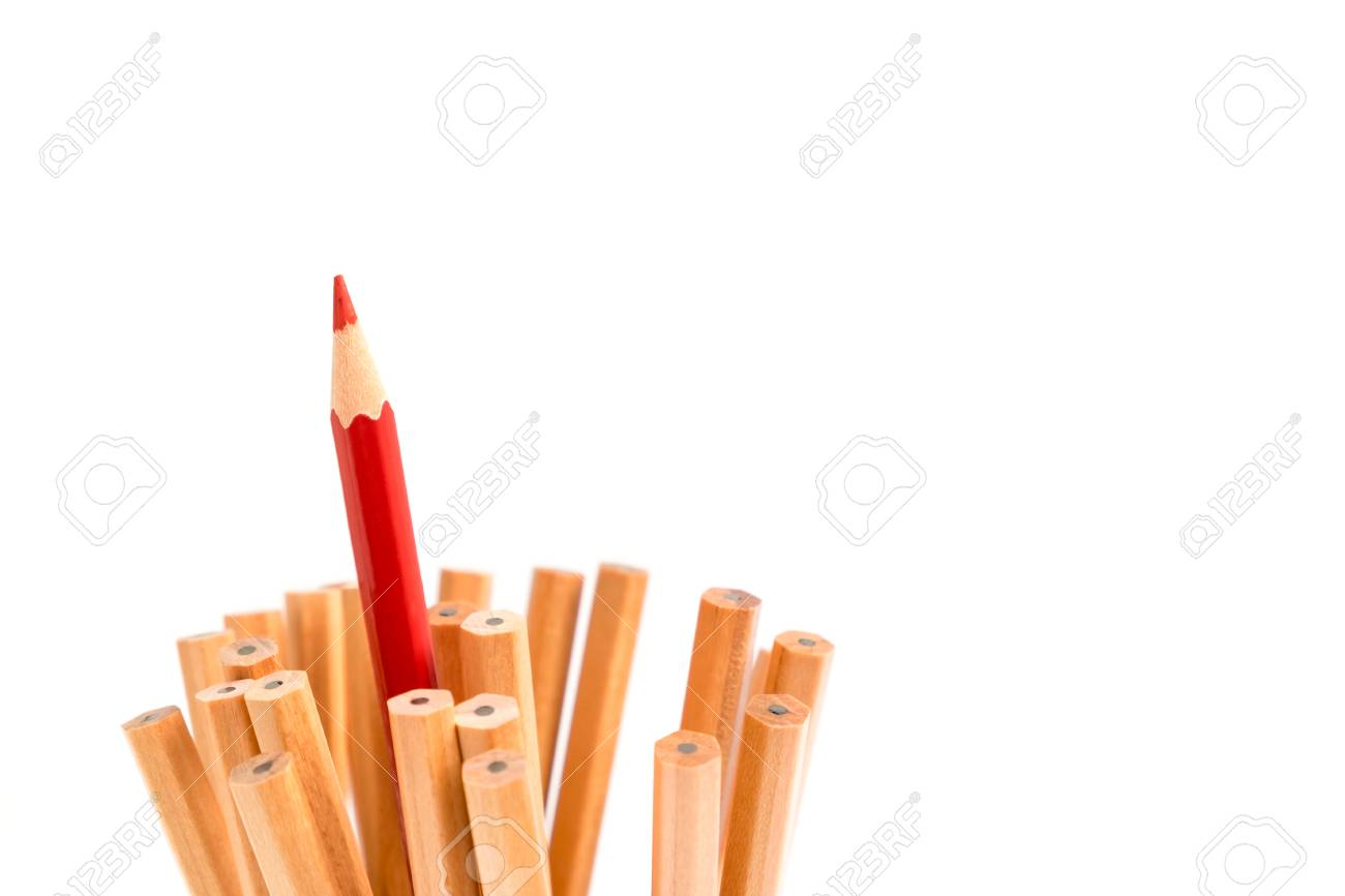 red colored pencil stand out of other brown pencils business stock photo picture and royalty free image image 56421330