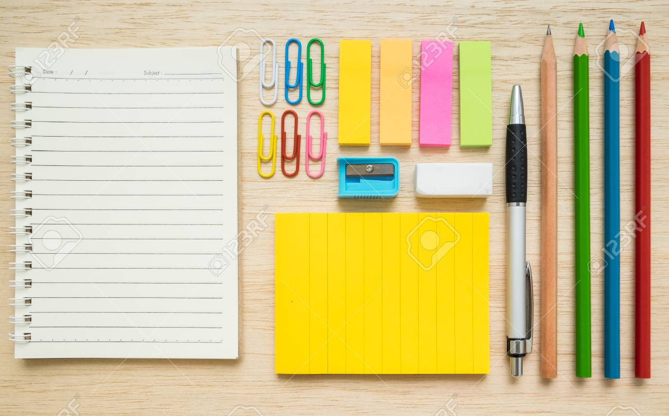 colorful set of stationery notepad paper clips sticky notes