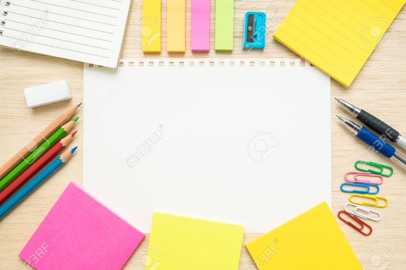 Surprising Desk Above Table Top View Of Stationery Items Pen Pencil Download Free Architecture Designs Terchretrmadebymaigaardcom