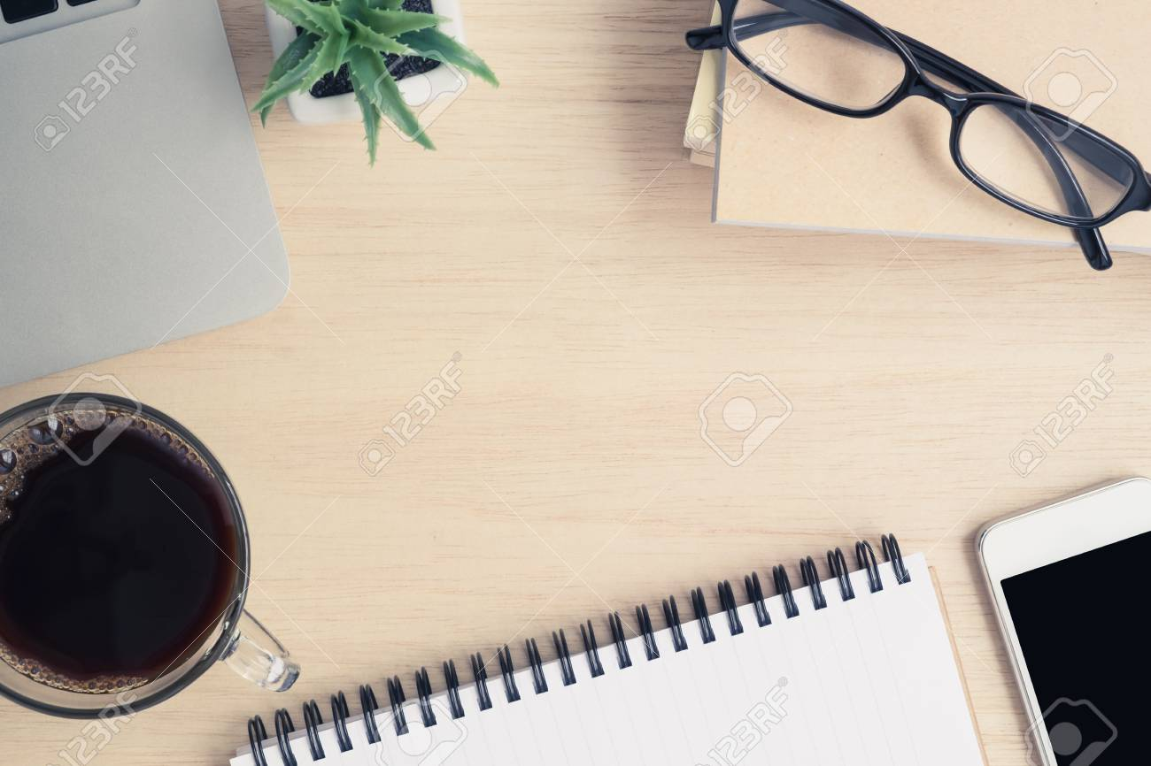 Strange Desk Above Table Top View Of Office Desk A Cup Of Coffee Download Free Architecture Designs Ogrambritishbridgeorg