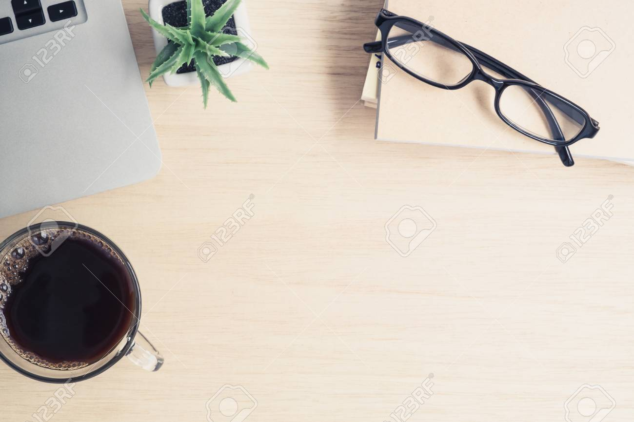 Groovy Desk Above Table Top View Of Office Desk Laptop A Cup Of Interior Design Ideas Clesiryabchikinfo
