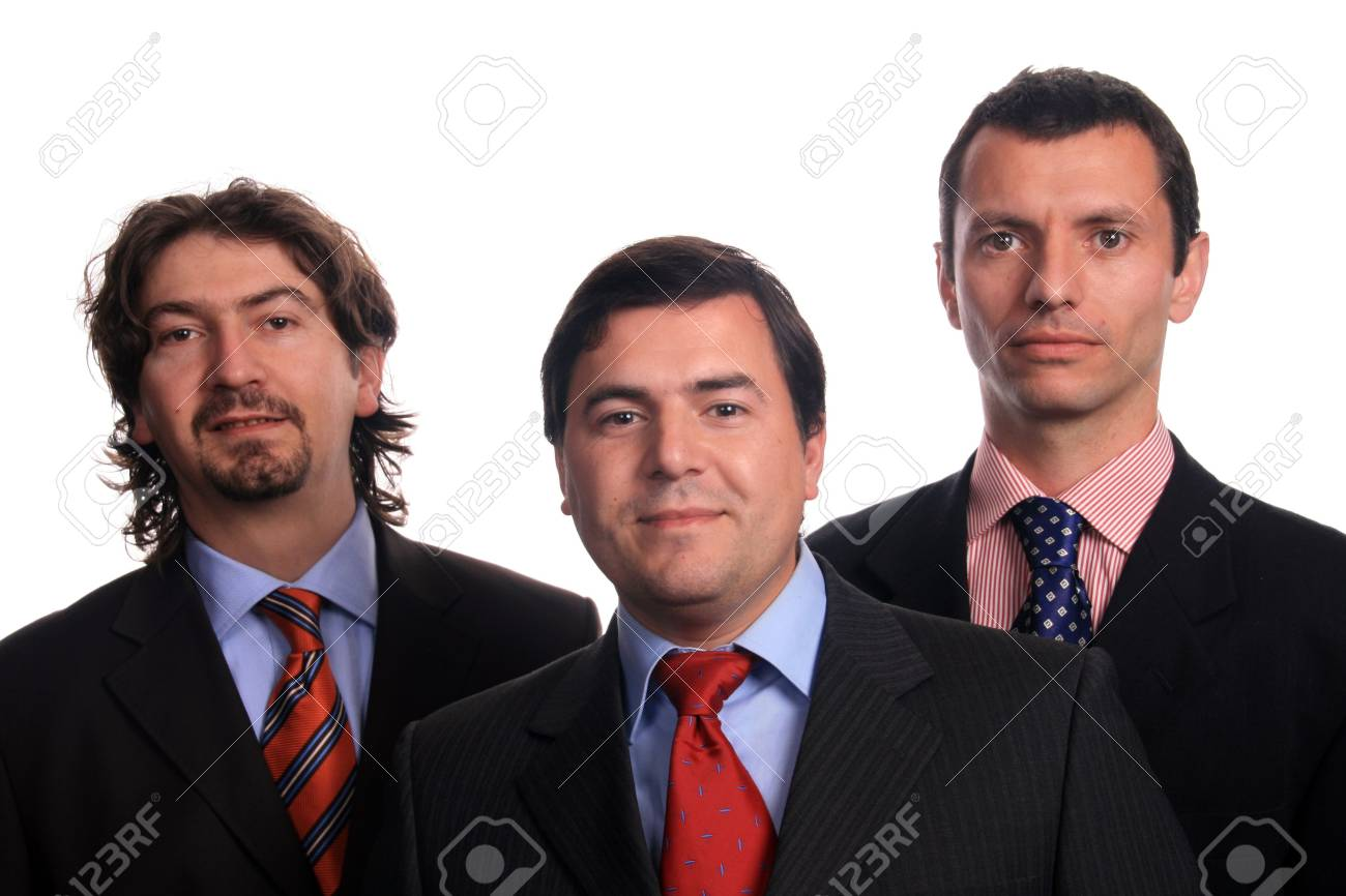 happy sucessfull businessteam isolated white background Stock Photo - 5215196