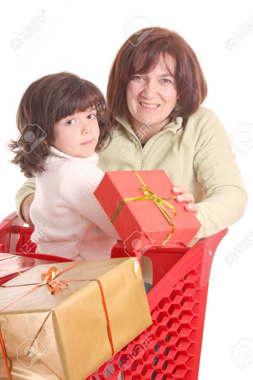 mother and daughter and the shopping cart Stock Photo - 13885878