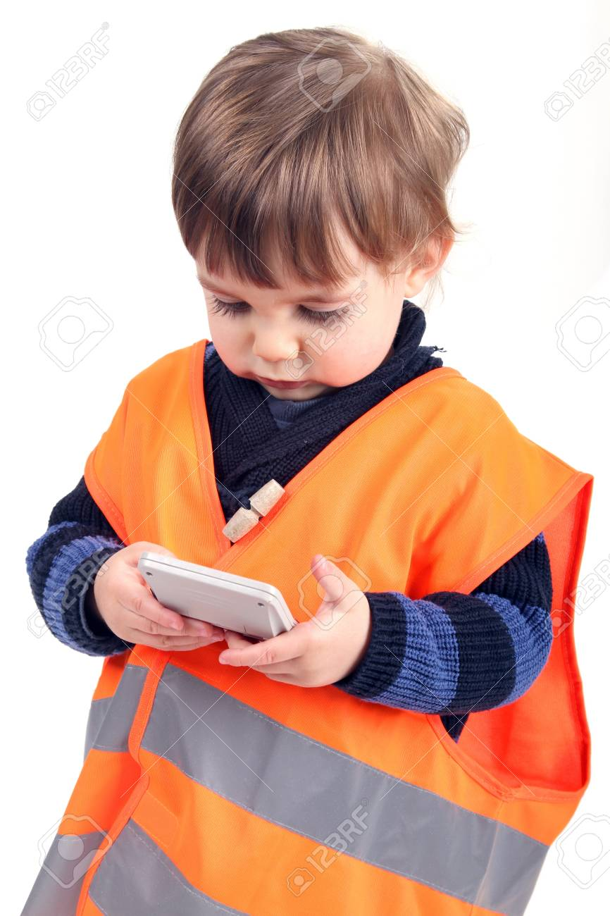 baby businessman working with PDA calculator Stock Photo - 16064776