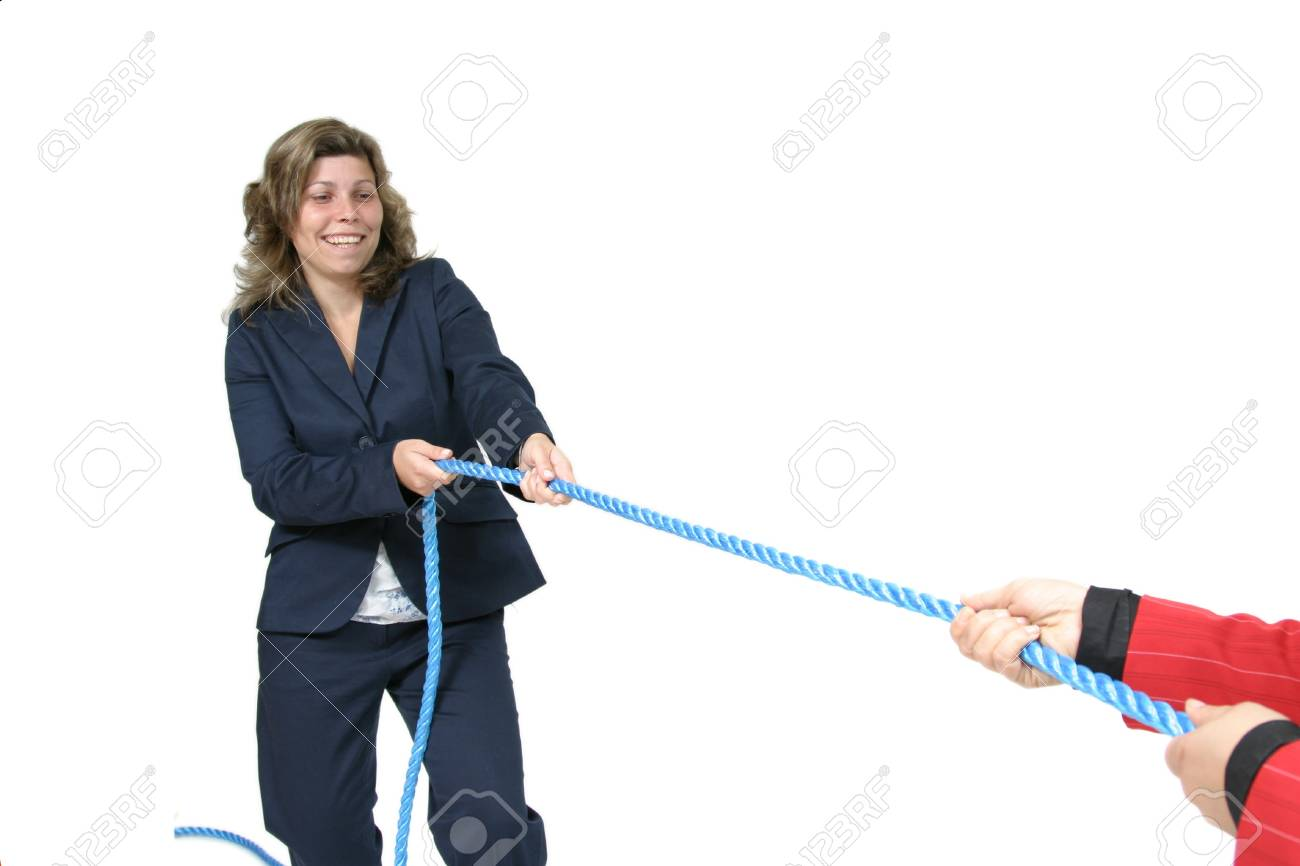 businesswoman boss with rope and team workers Stock Photo - 16084115