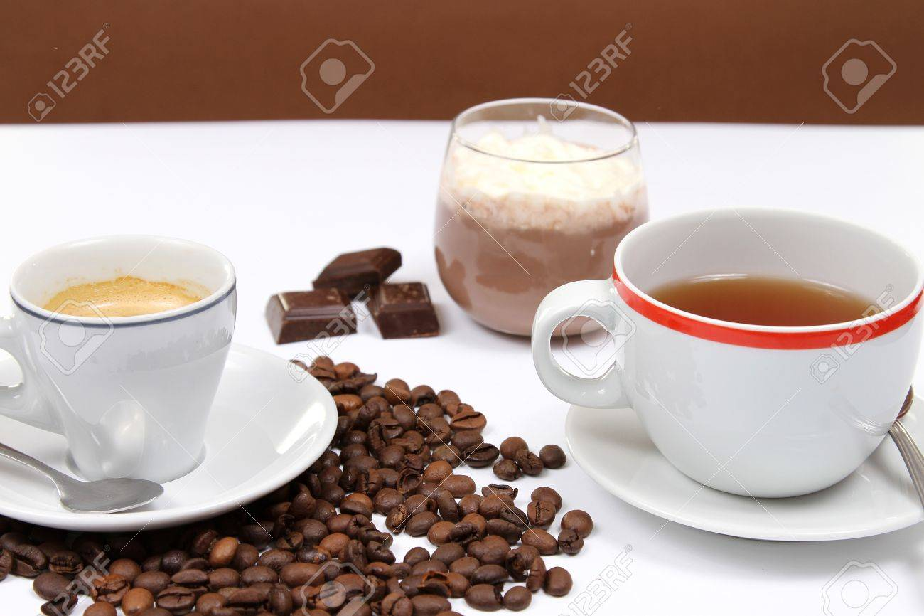 coffe,tea and choco cream Stock Photo - 16040468