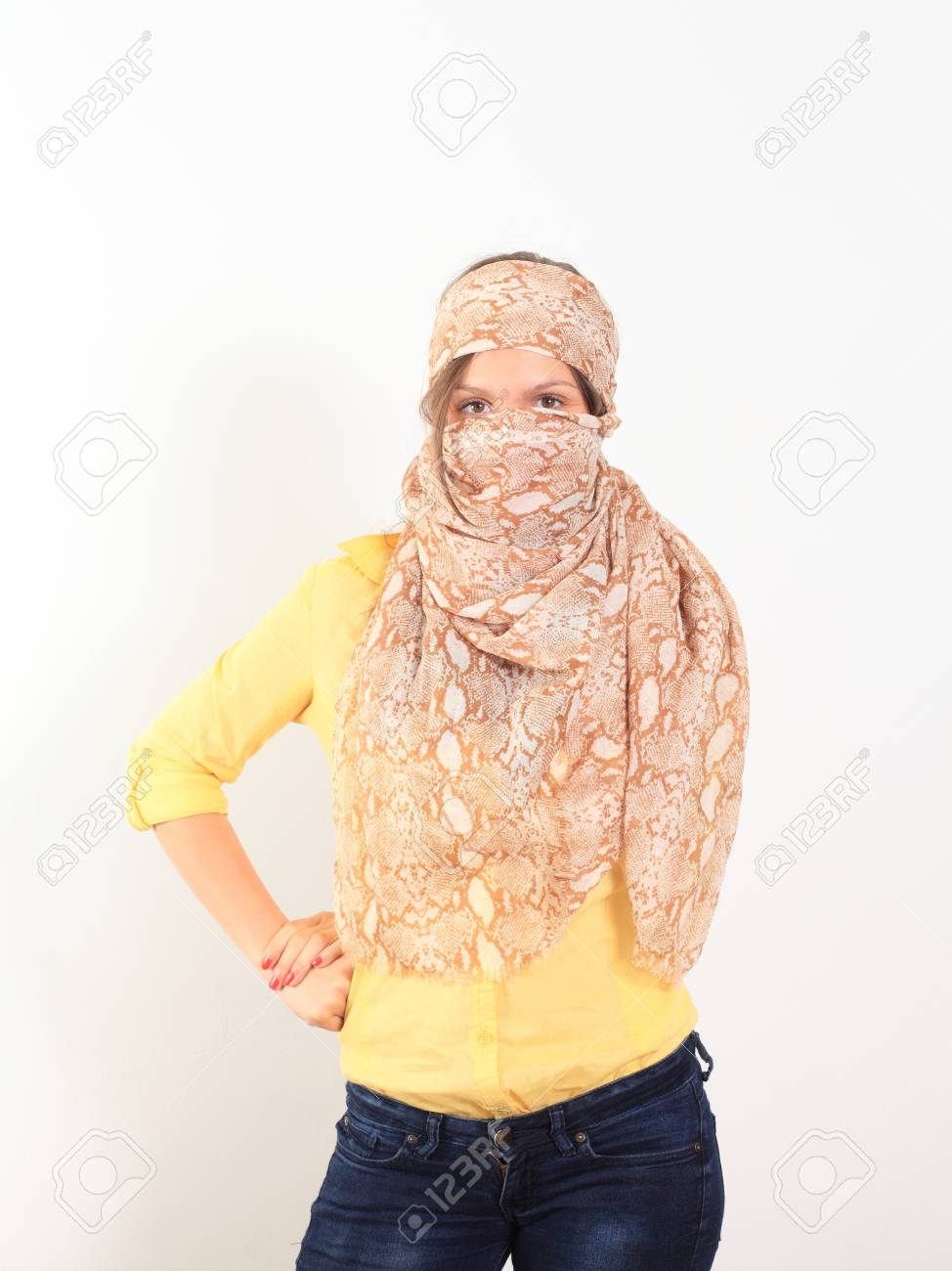 beautiful young smiling woman with a scarf hippie Stock Photo - 14013949