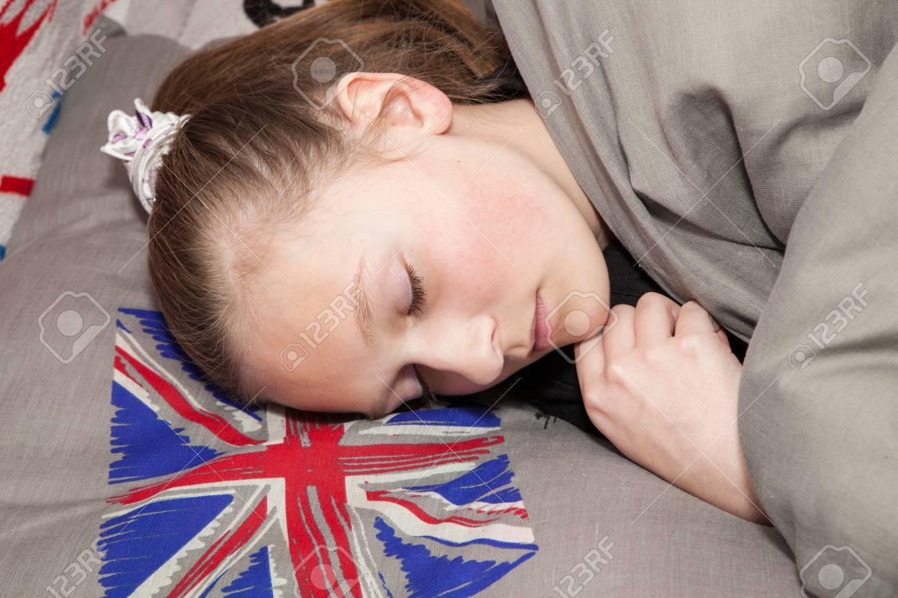 Ragazza inglese in un letto foto royalty free immagini immagini