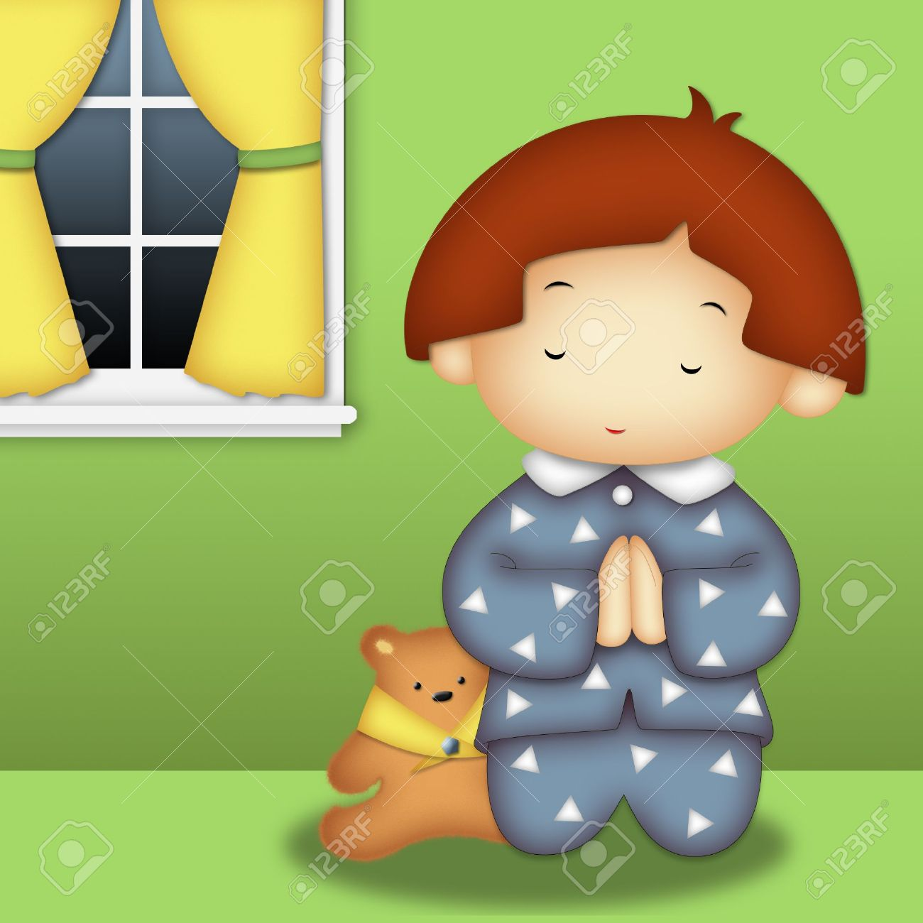 Praying boy wearing blue pajamas praying in his room Stock Photo - 7646869