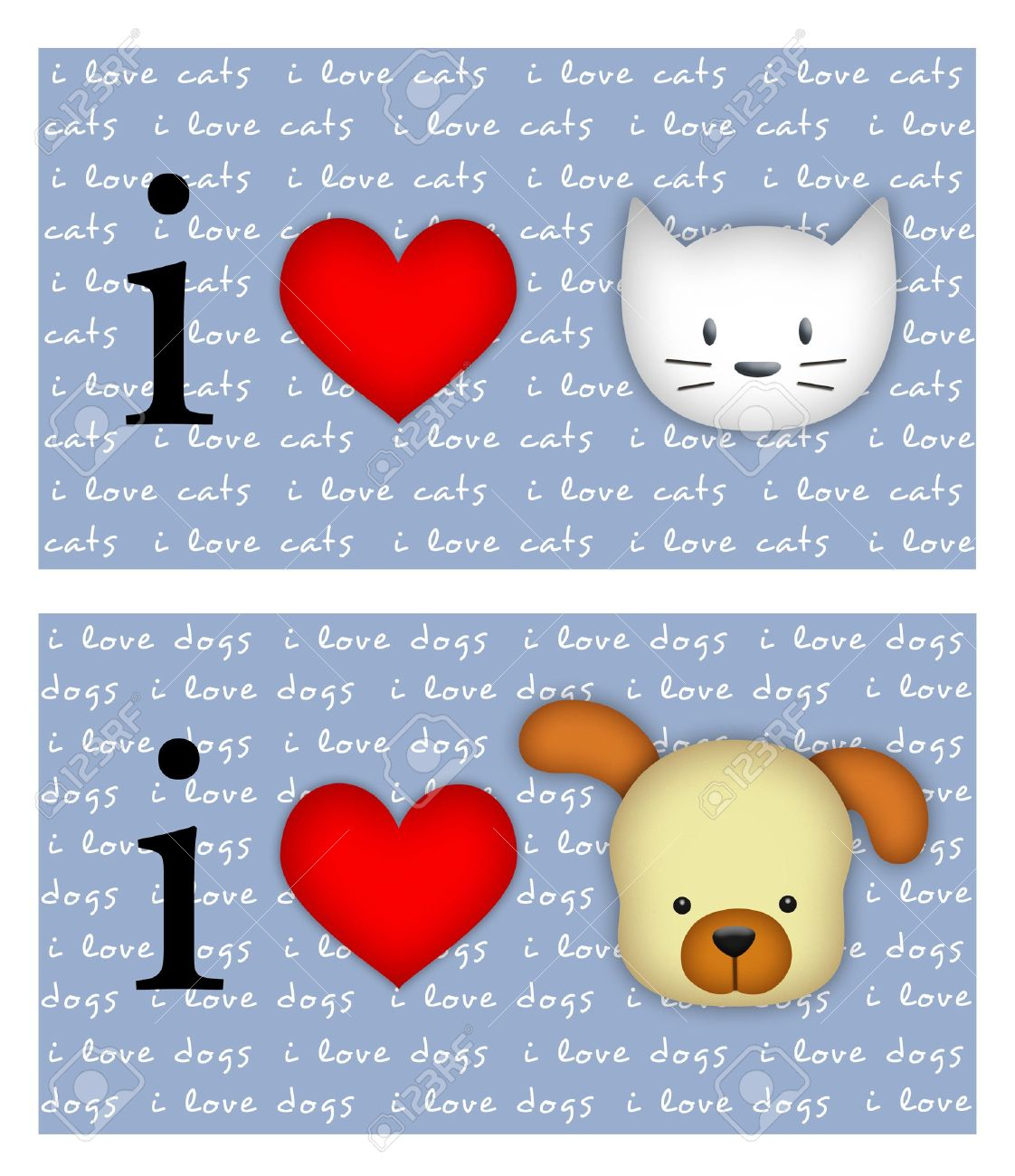 I love cats/dogs signs on blue background with - 8021003
