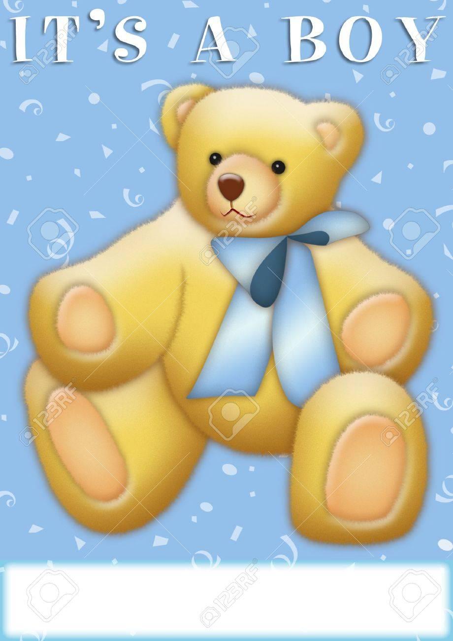 It's a Boy announcement with teddy bear - 8021002