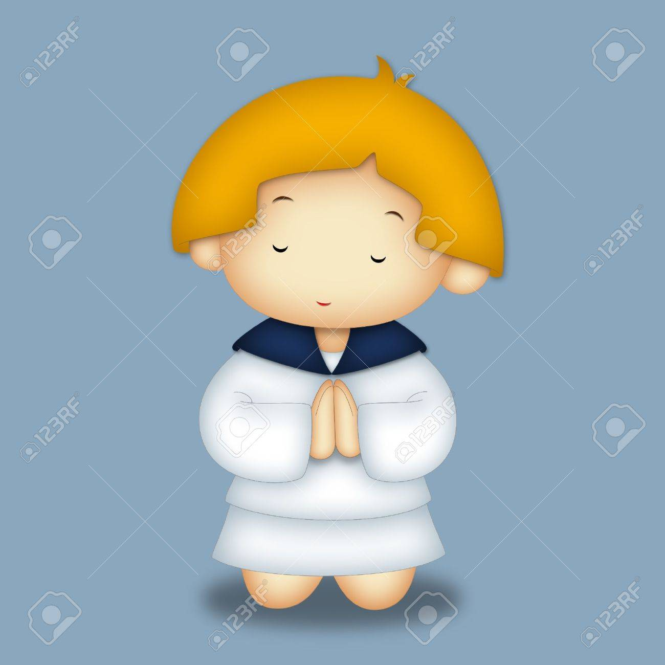 Praying girl wearing navy style dress. Stock Photo - 8020981
