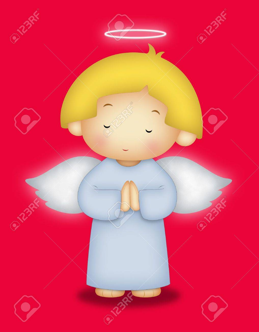 Angel with yellow hair praying. - 8066095