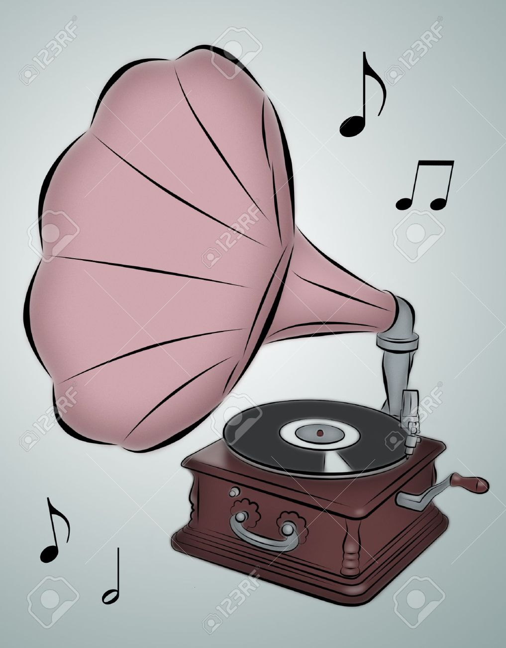 Line drawing of phonograph with musical notes. - 8066101