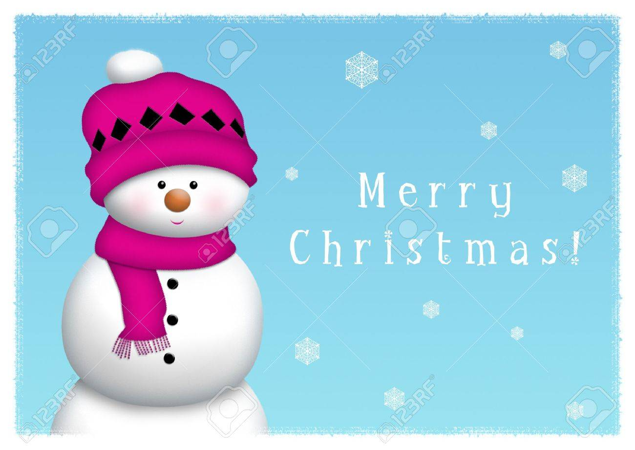 Snowman on blue background with snow crystals. - 8143187