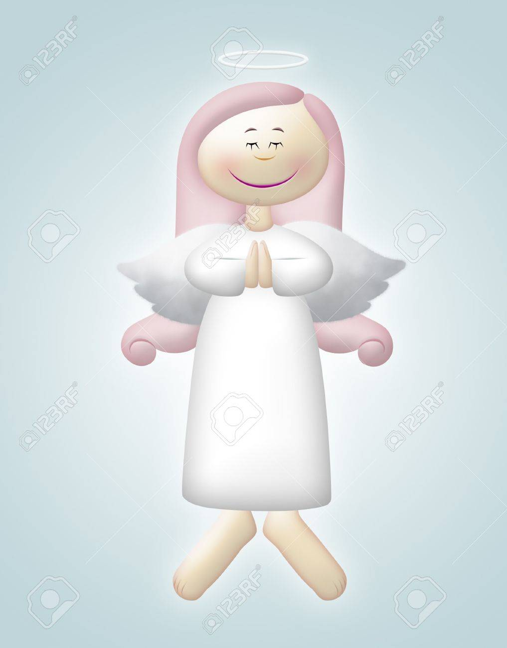Floating angel with pink hair praying. - 8365521