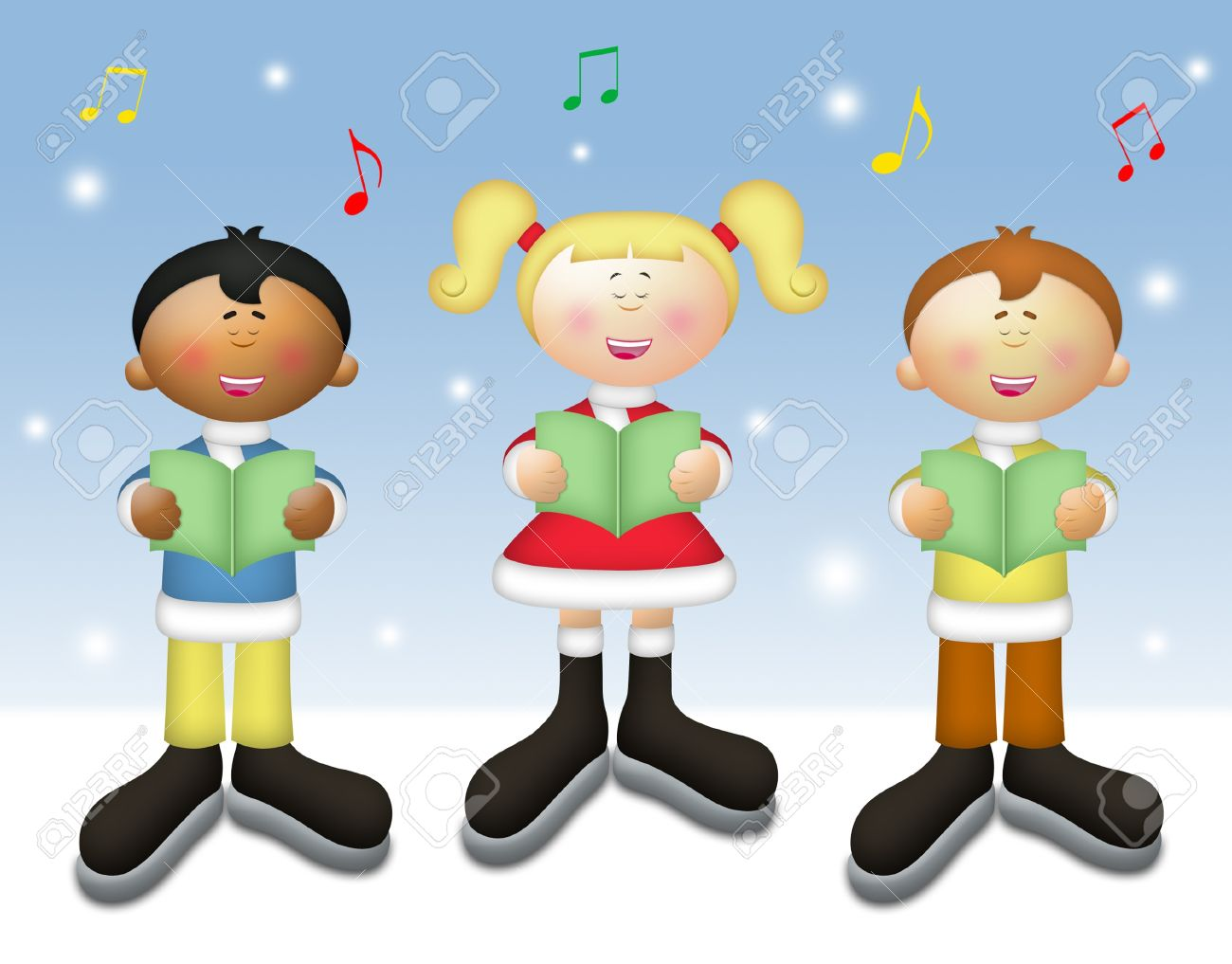 Three Kids Singing Christmas Carols In Winter Setting. Stock Photo ...