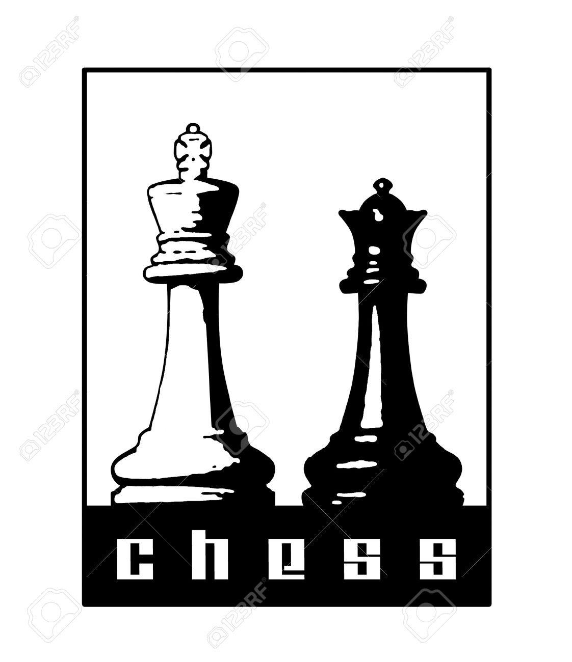 Chess symbol with king and queen pieces. - 8434232