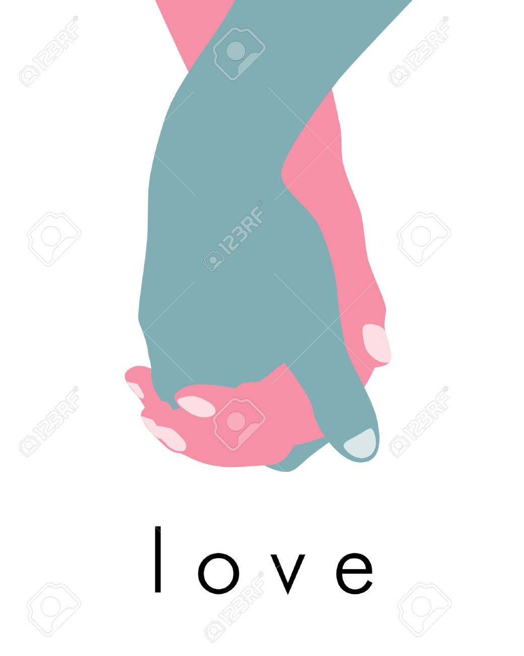 Abstract holding hands with word - 8451505