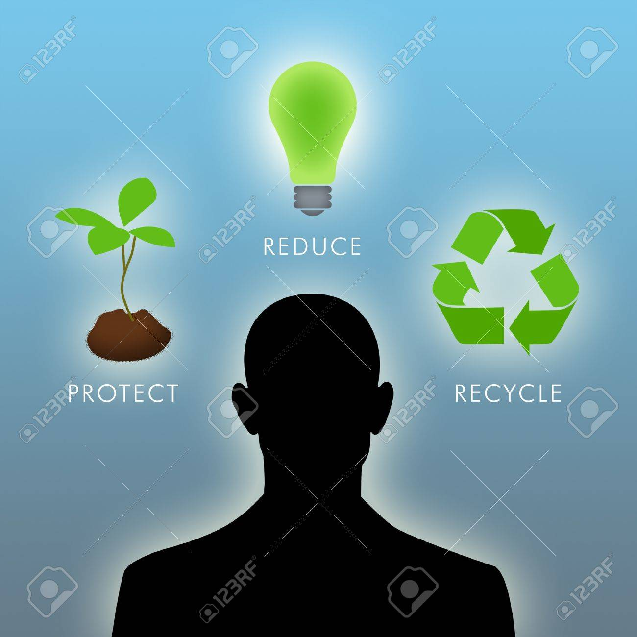 Illustration of man thinking of environmental things. - 8524450