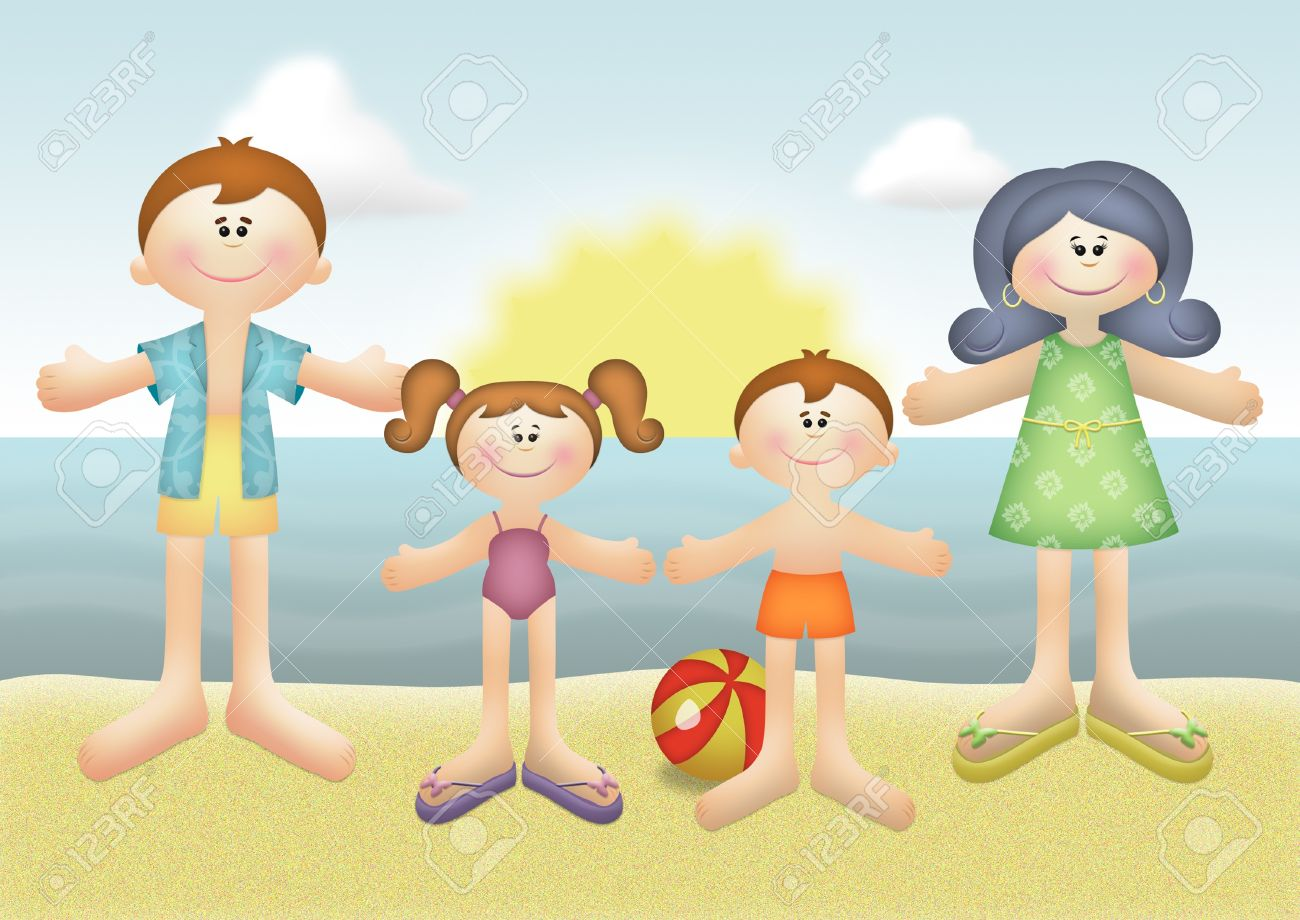 Family summer vacation on the beach. - 8524439