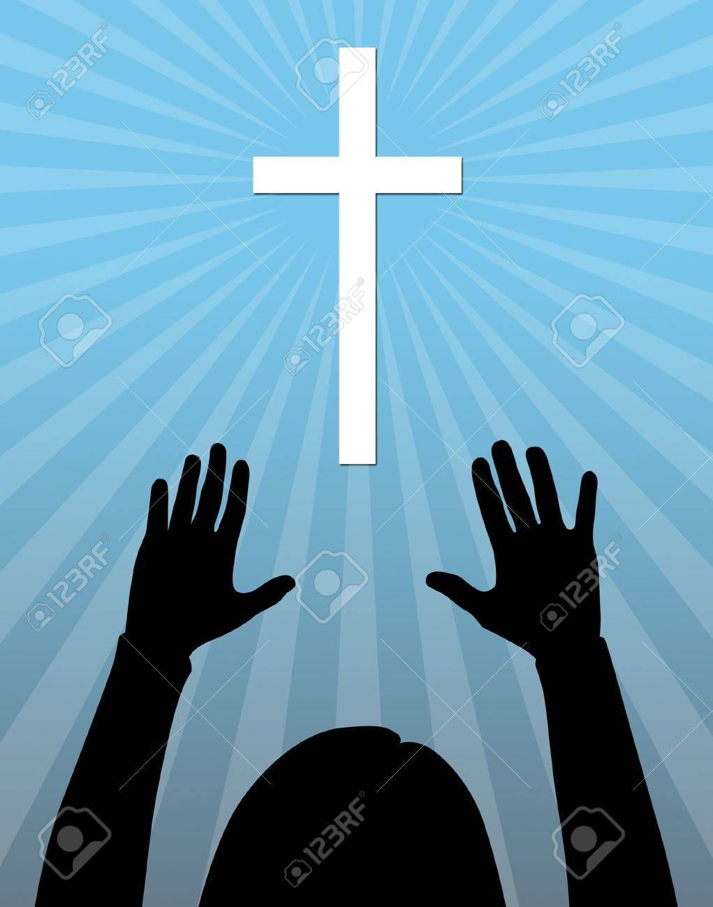 Silhouette of a Christian woman worshiping. - 8694091