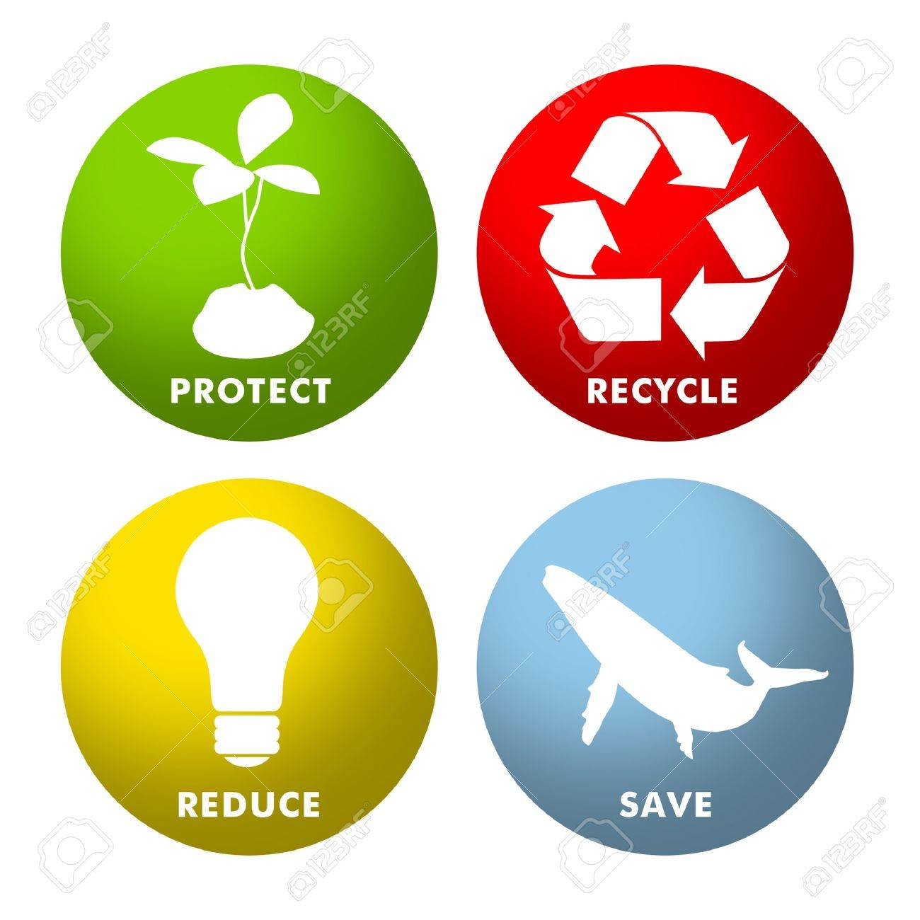 Environmental icons for Protect, Recycle, Reduce and Save. - 8808429