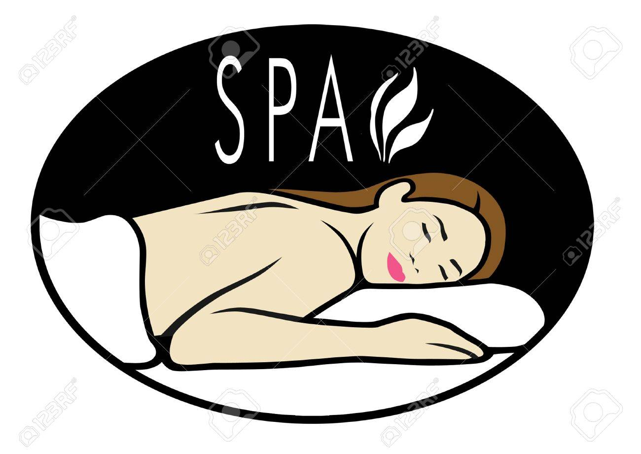 Logo for spa with woman lying down for massage. - 8909675