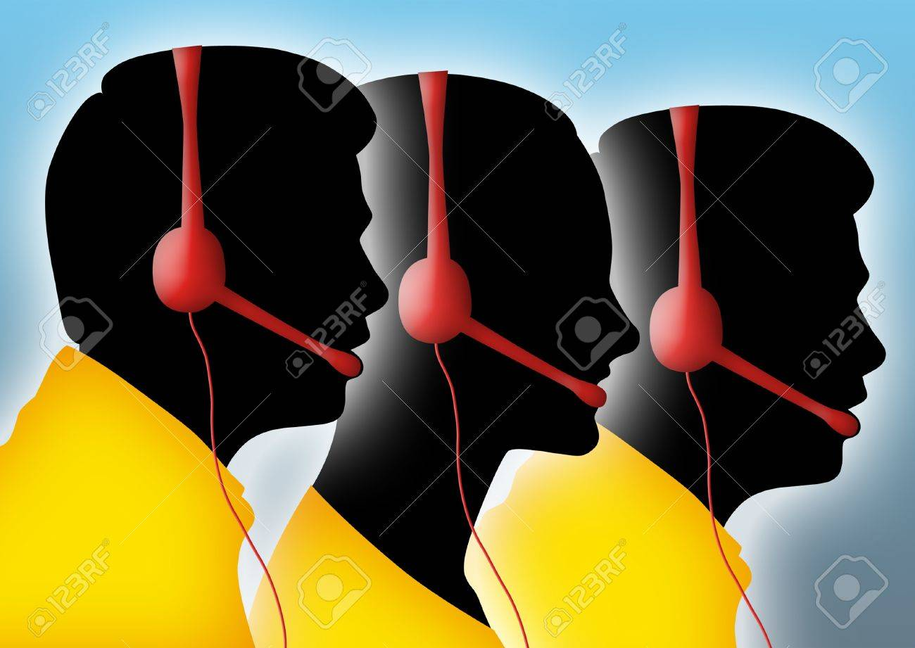 Silhouettes of call center agents. - 9071910