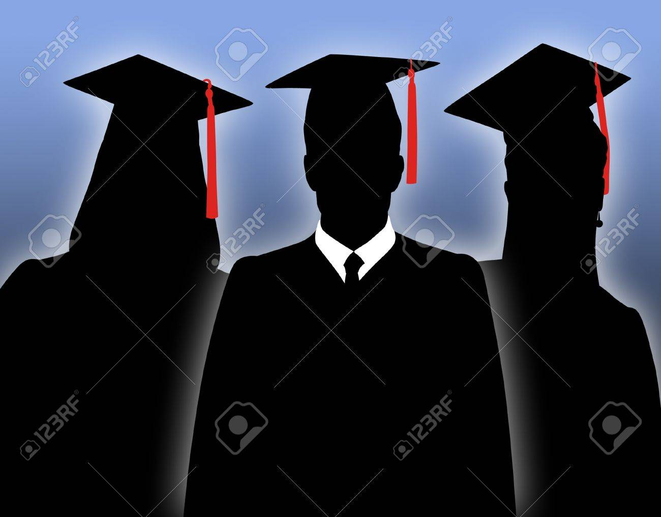 Silhouettes of school graduates in togas. - 9071911
