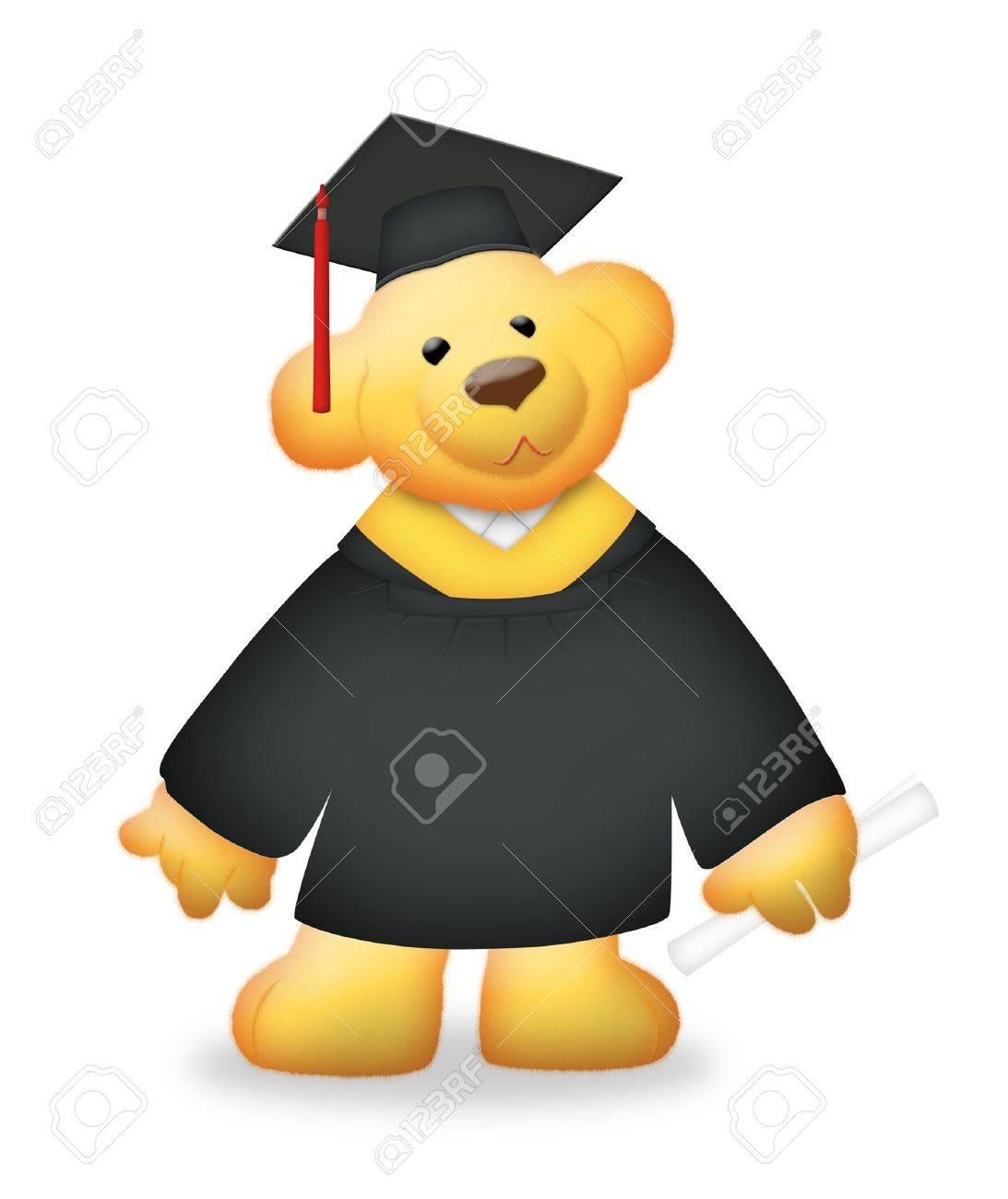 Graduation teddy bear wearing toga. - 9071915