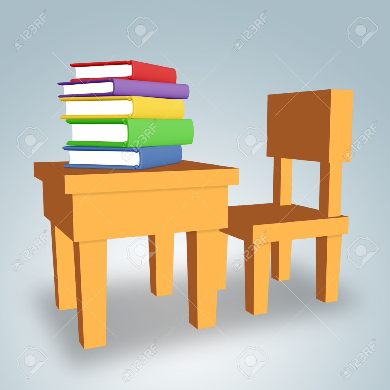 Chair and table with colored books. - 9288817