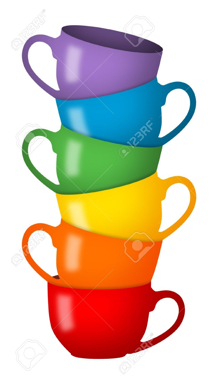 Stack of coffee cups in rainbow colors. - 9340779