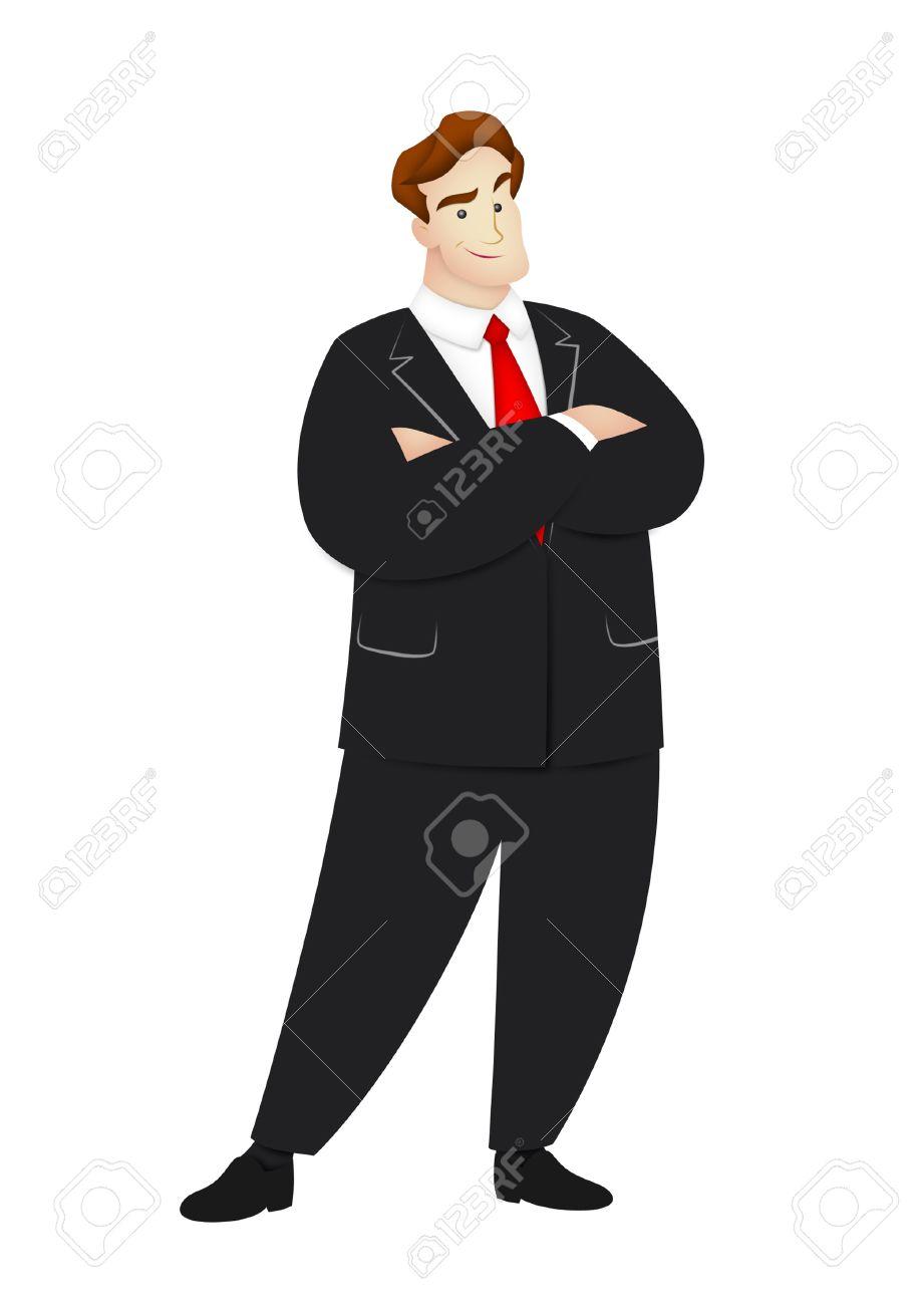 Cartoon businessman in confident pose. - 9633958