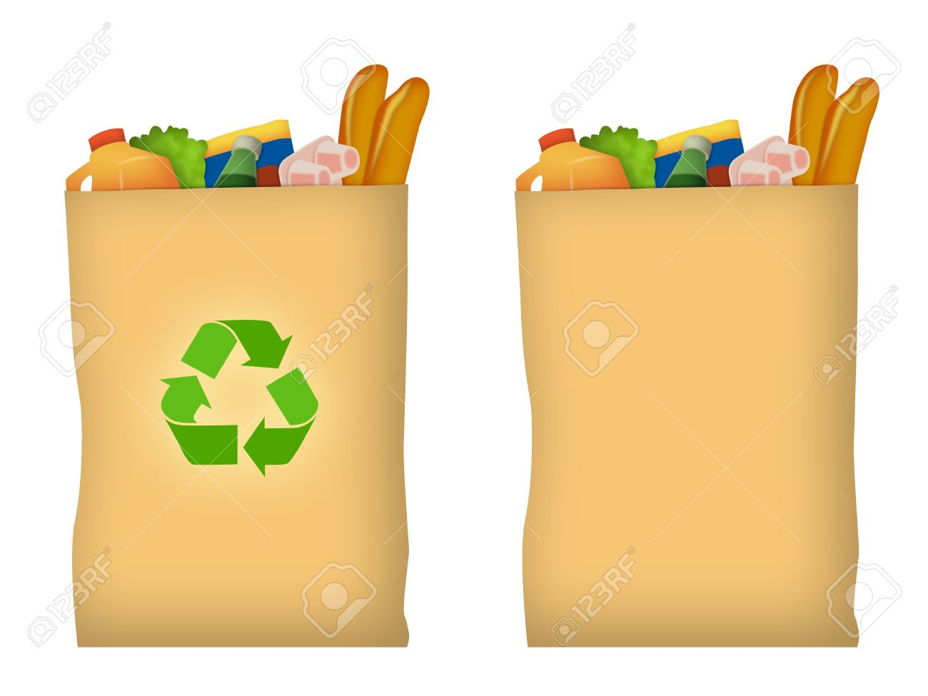 Brown paper grocery bag with recycle symbol. - 9739176