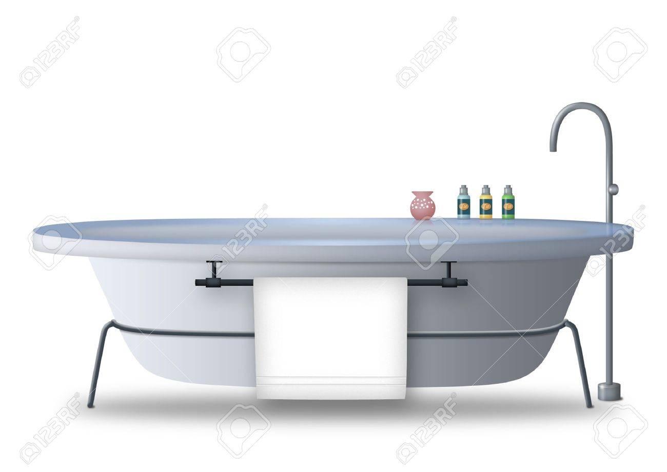 Bathtub with towel rack and bath items. Stock Photo - 9739177