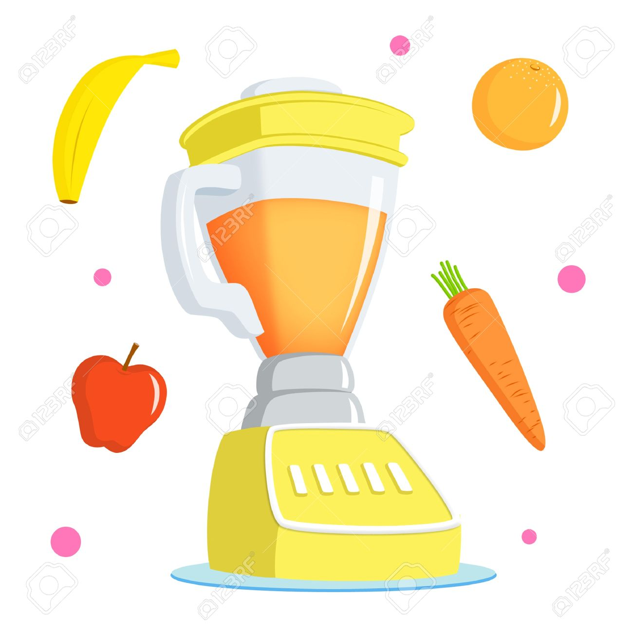 Juice blender with banana, apple, orange and carrot. - 9739179