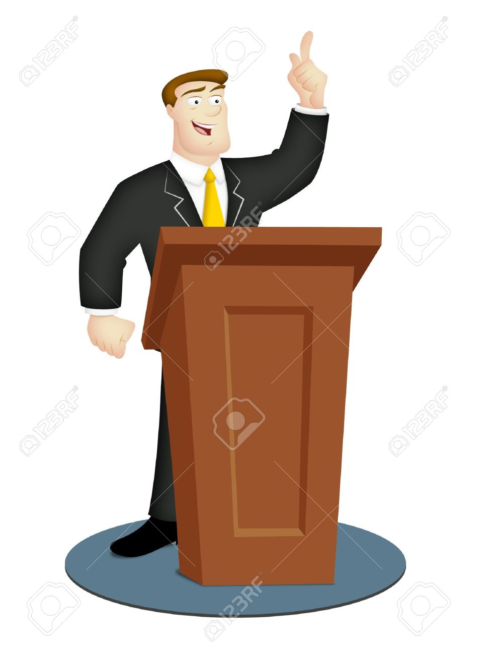 Cartoon speaker in business suit with rostrum. - 9833050