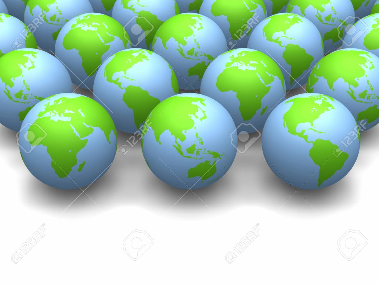 3D globes side by side with space for text. Stock Photo - 10103463