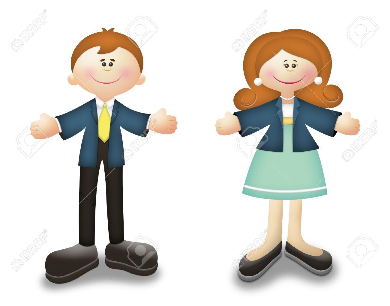 Cartoon career people in business suits. - 10395517