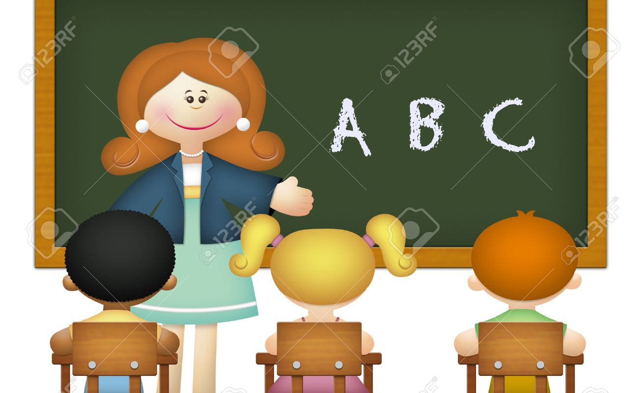 Teacher Teaching ABC To Students In Classroom. Stock Photo ...