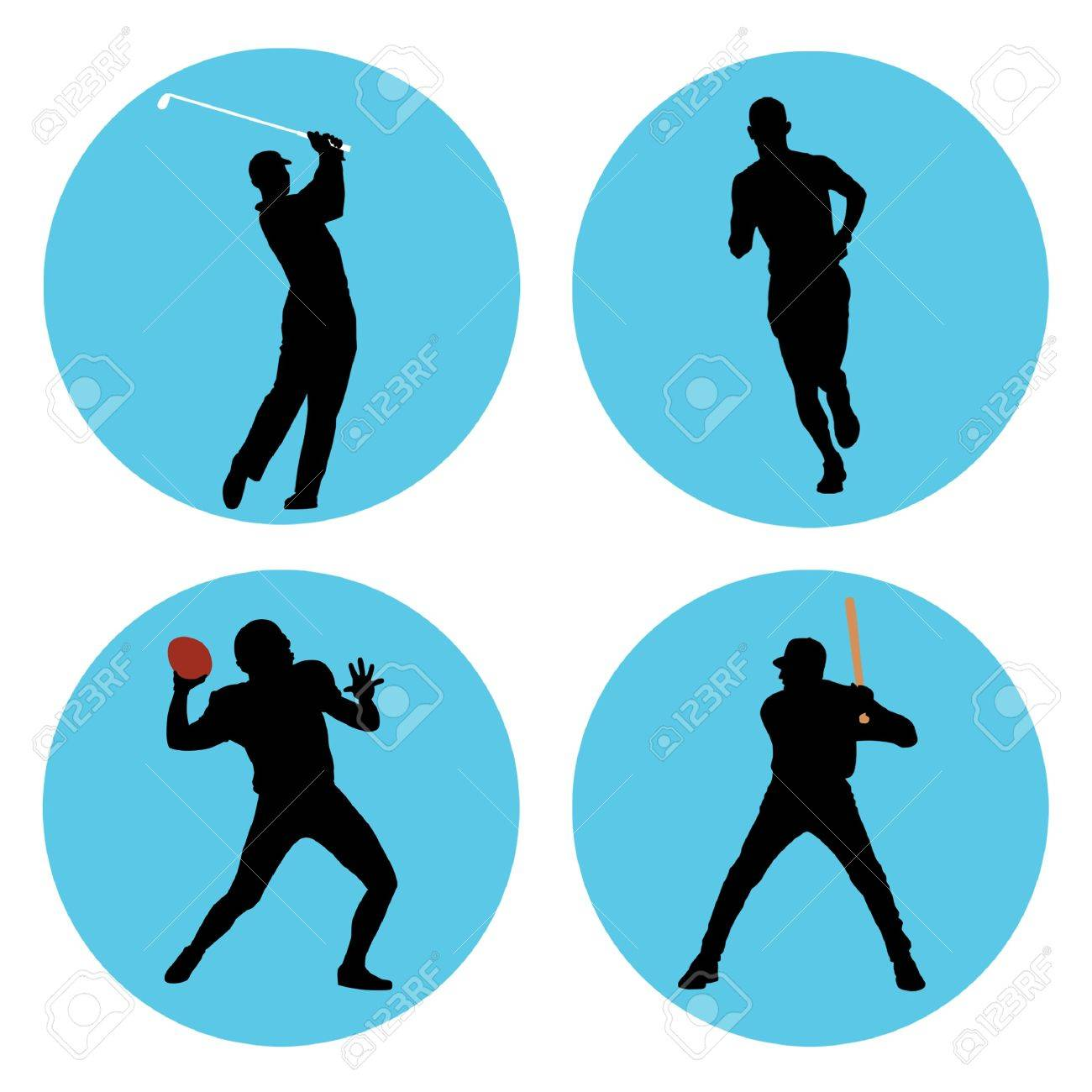 Sports athlete silhouettes in blue circles. - 10438409