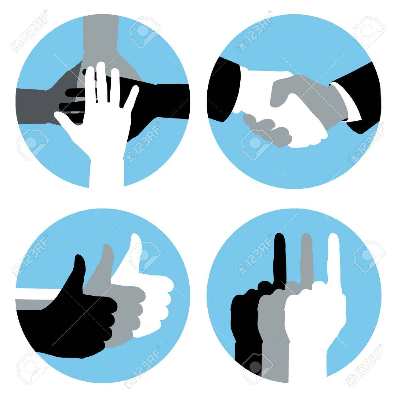 Business hand symbols in blue circles. - 10460941