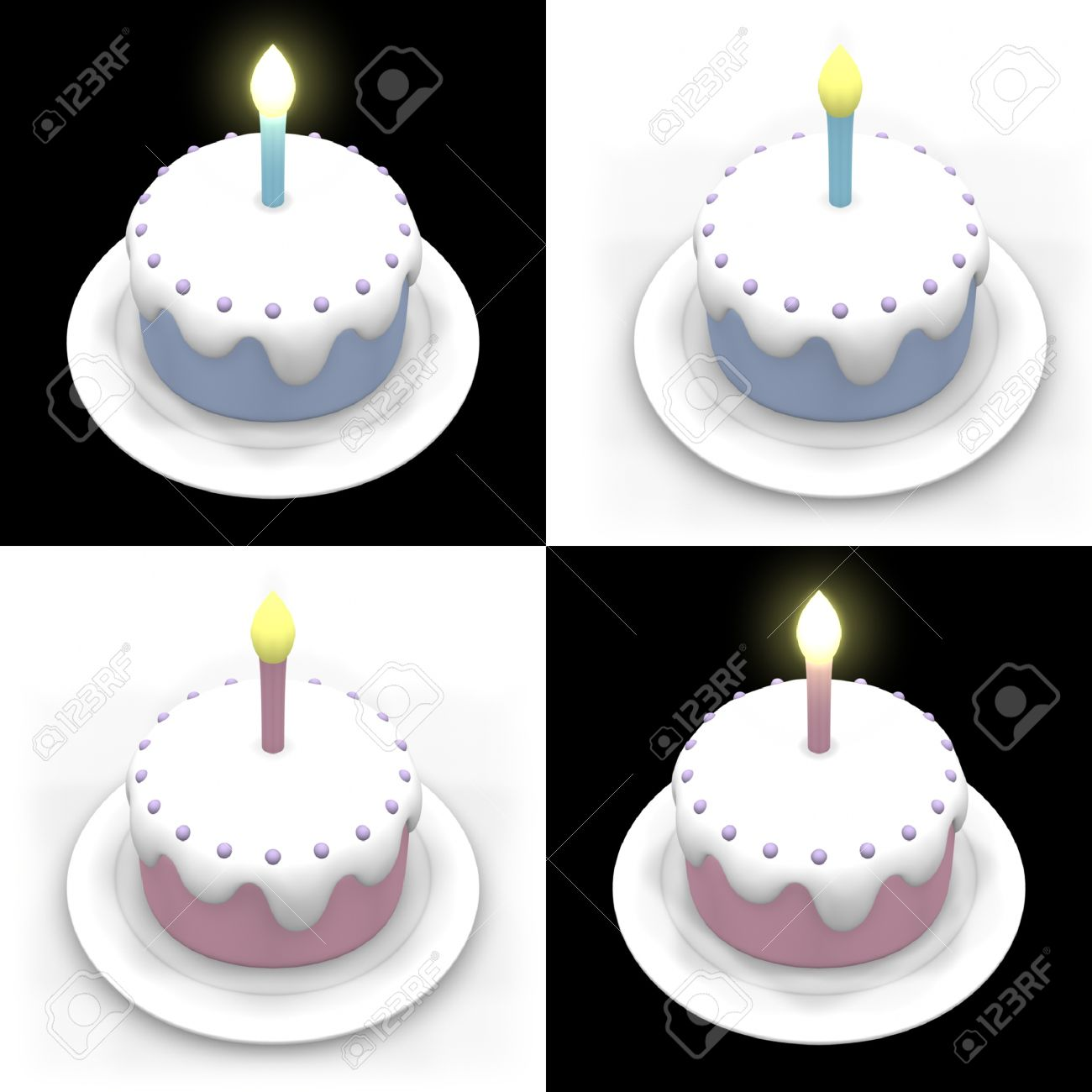 3d Model Of Blue And Pink Birthday Cakes In Black And White