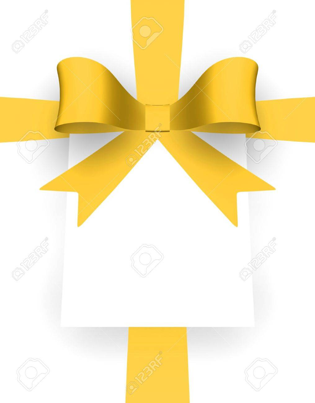 Yellow ribbon and card with space for text. - 13618999