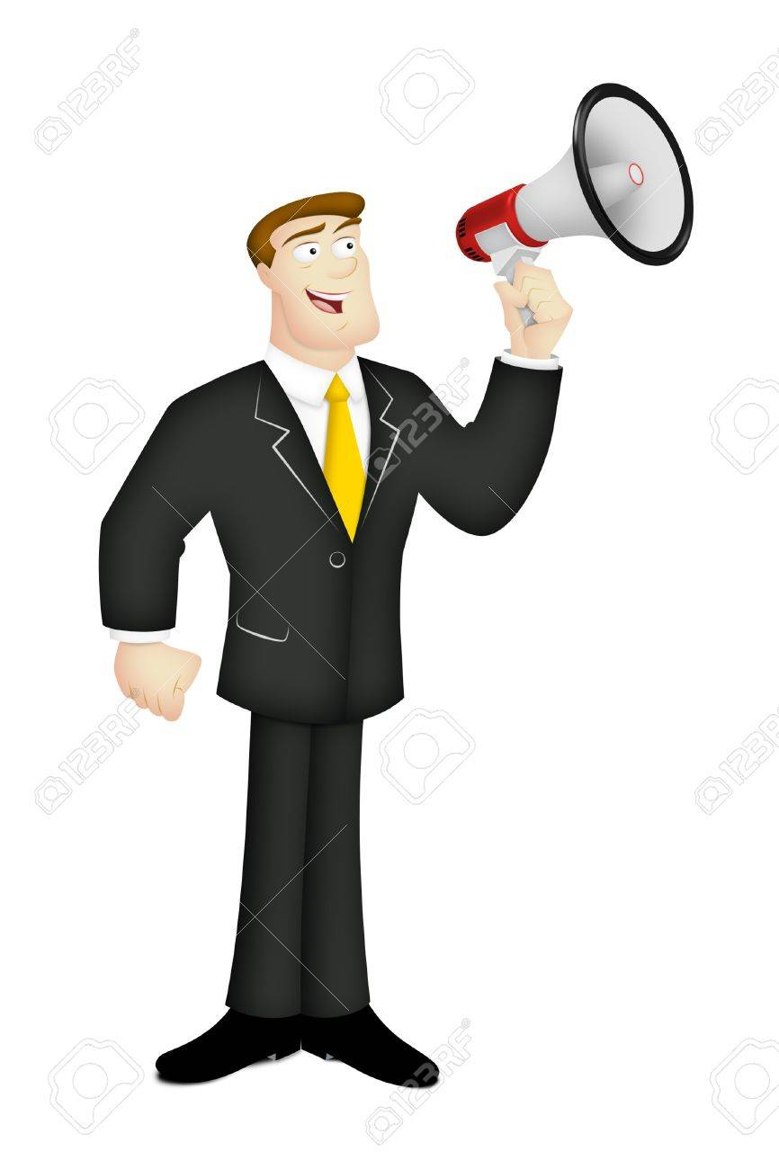 Man in business suit with megaphone. - 13991274