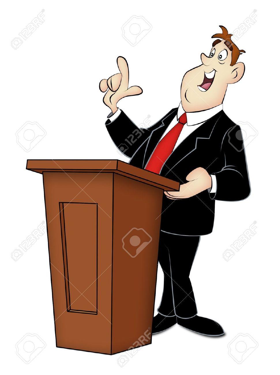 Cartoon speaker in business suit with rostrum. - 14128639