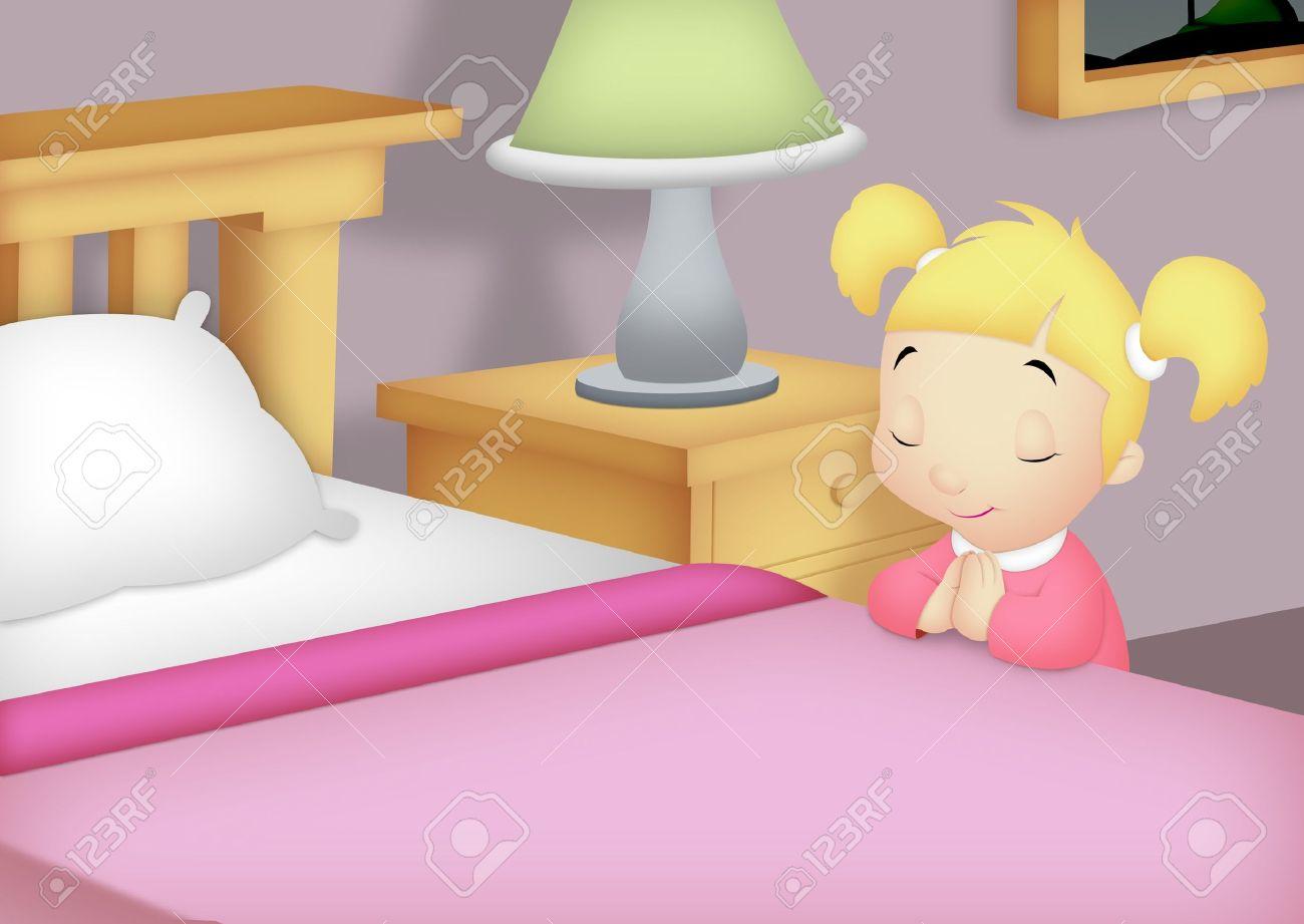 Girl praying besides her bed. - 14301059