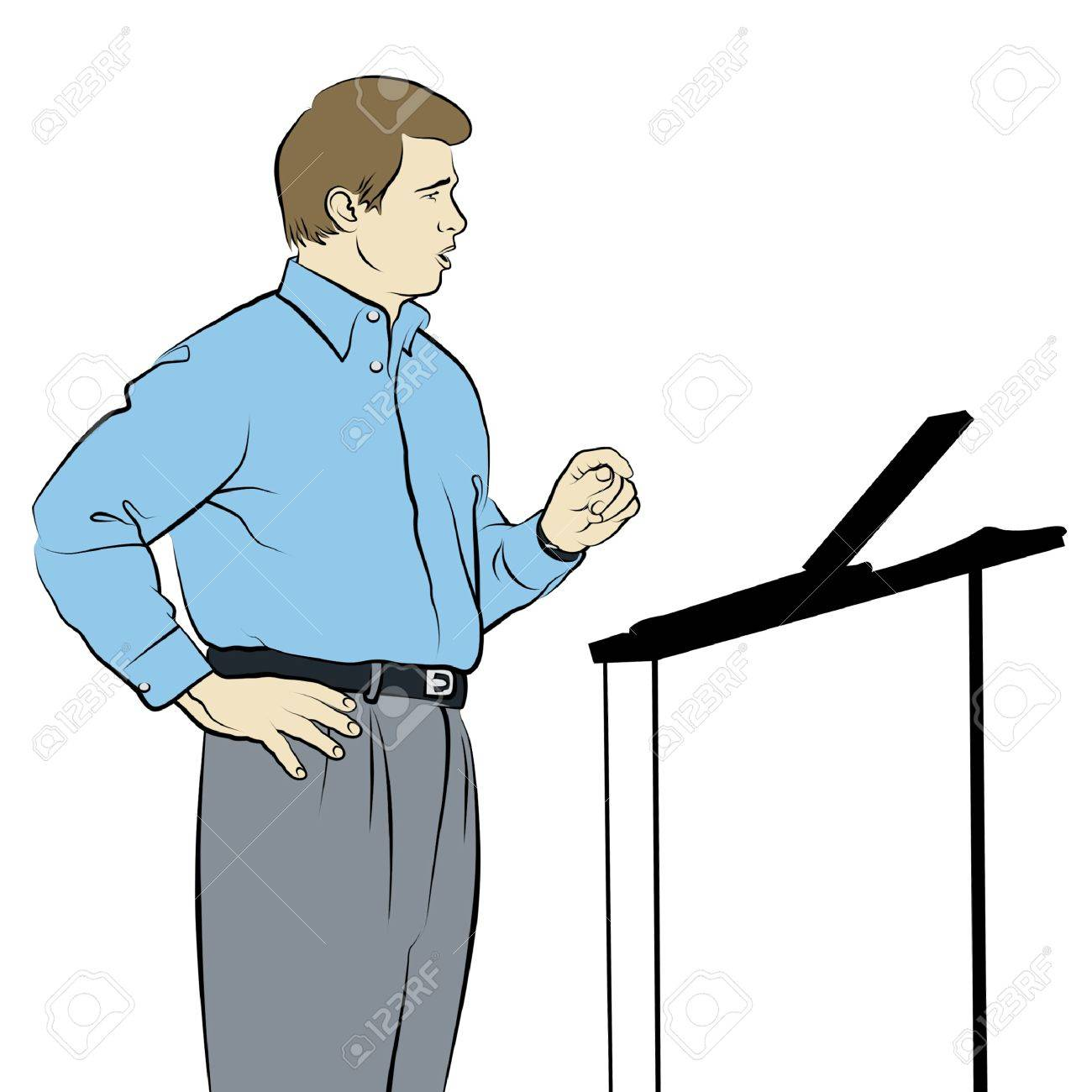 Line drawing of speaker with podium. Stock Photo - 17766729